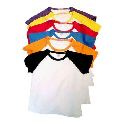 2999bbe6b30fb Playeras T-Shirt Raglan de algodon peinado blancas para sublimado con manga  colorida para niños